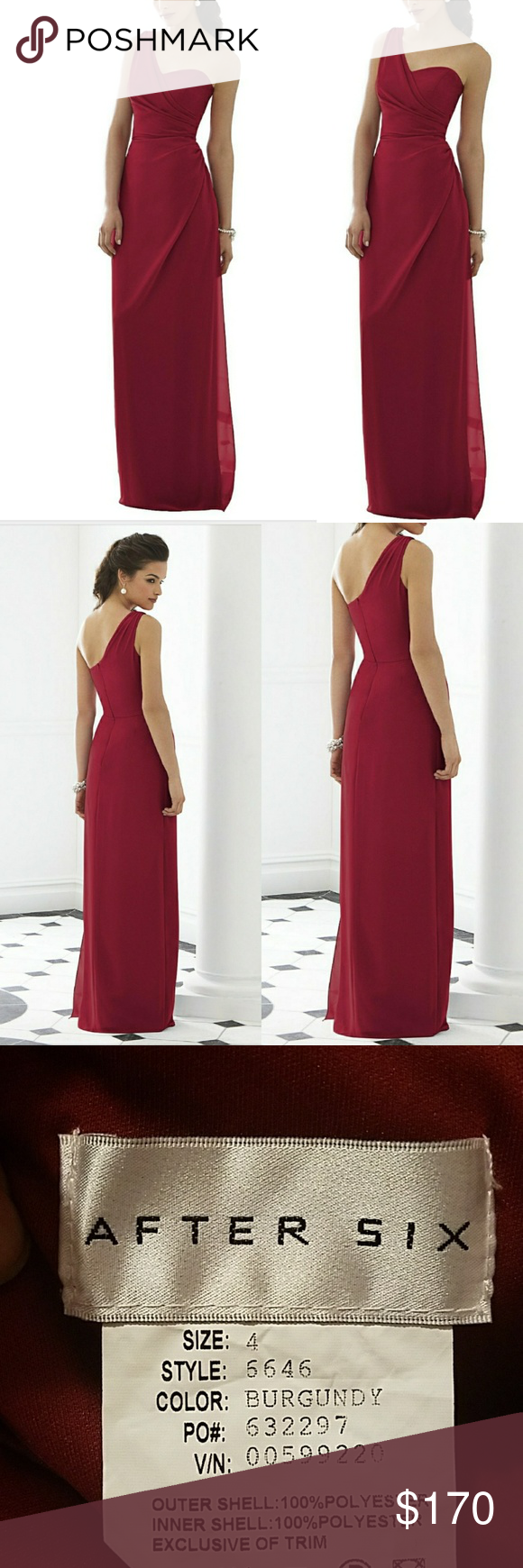 51a44e77e4e After Six Bridesmaid Dress 6646 Full length one shoulder bridesmaid dress  in nu-georgette fabric has draped bodice and draped skirt. center back zip  100% ...
