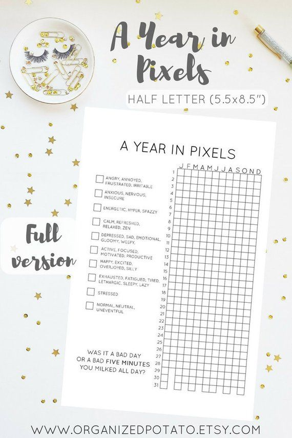 graphic regarding Year in Pixels Printable known as A Yr inside of Pixels (Fifty percent Letter - 5.5x8.5\