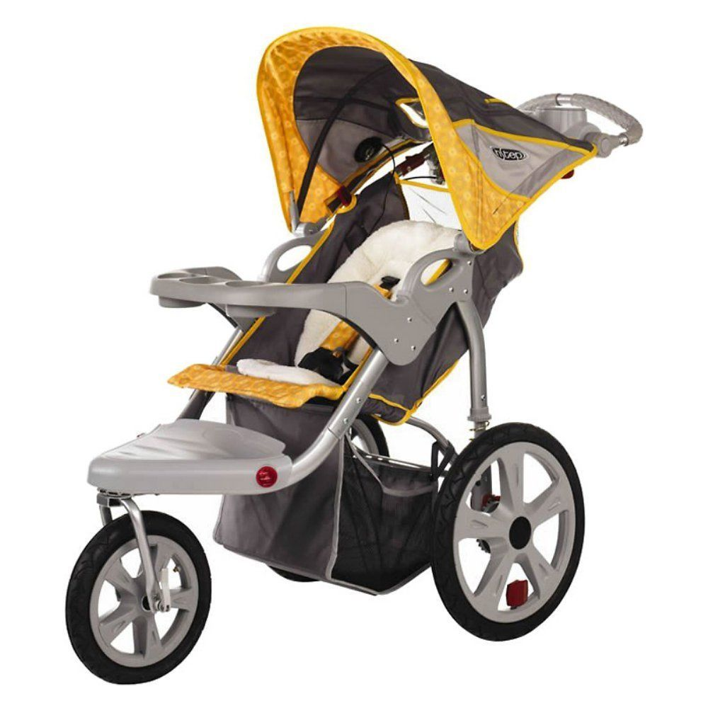 Instep Grand Safari Swivel Single Jogging Stroller Gray Yellow