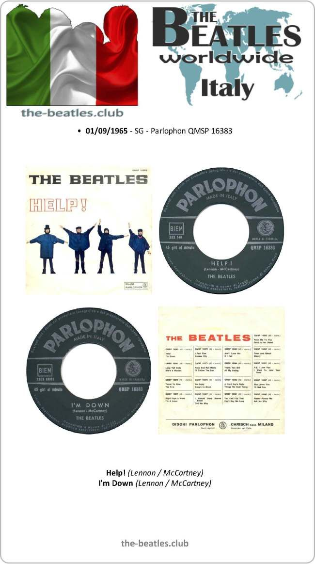 The Beatles Italy Single Parlophon QMSP 16383 Help! I'm Down ...