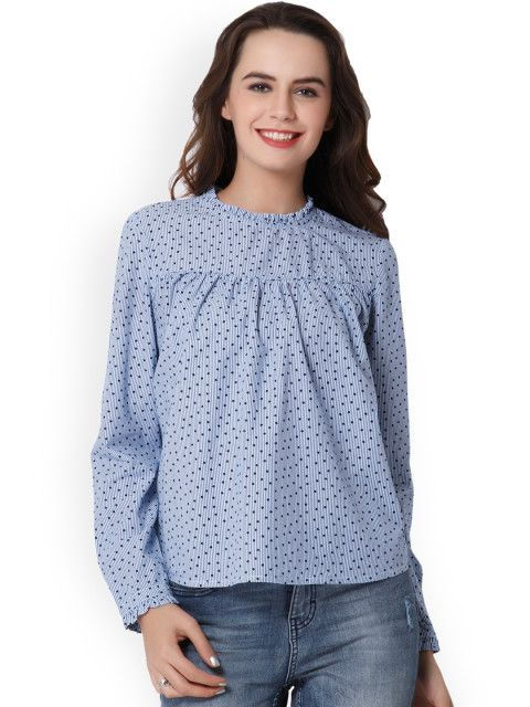 e5c0f5163f710d Buy ONLY Women Blue Printed Top - Tops for Women 2468899