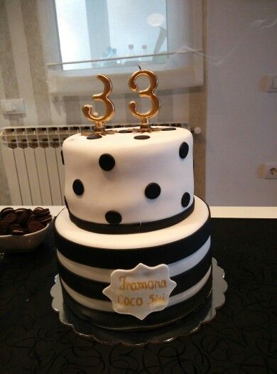 Birthday Cake Black And White Polka Dots Stripes 33rd