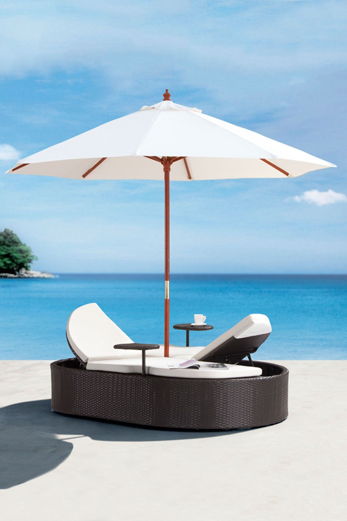 Outdoor Sun Lounge Bed With Built In Umbrella Furniture