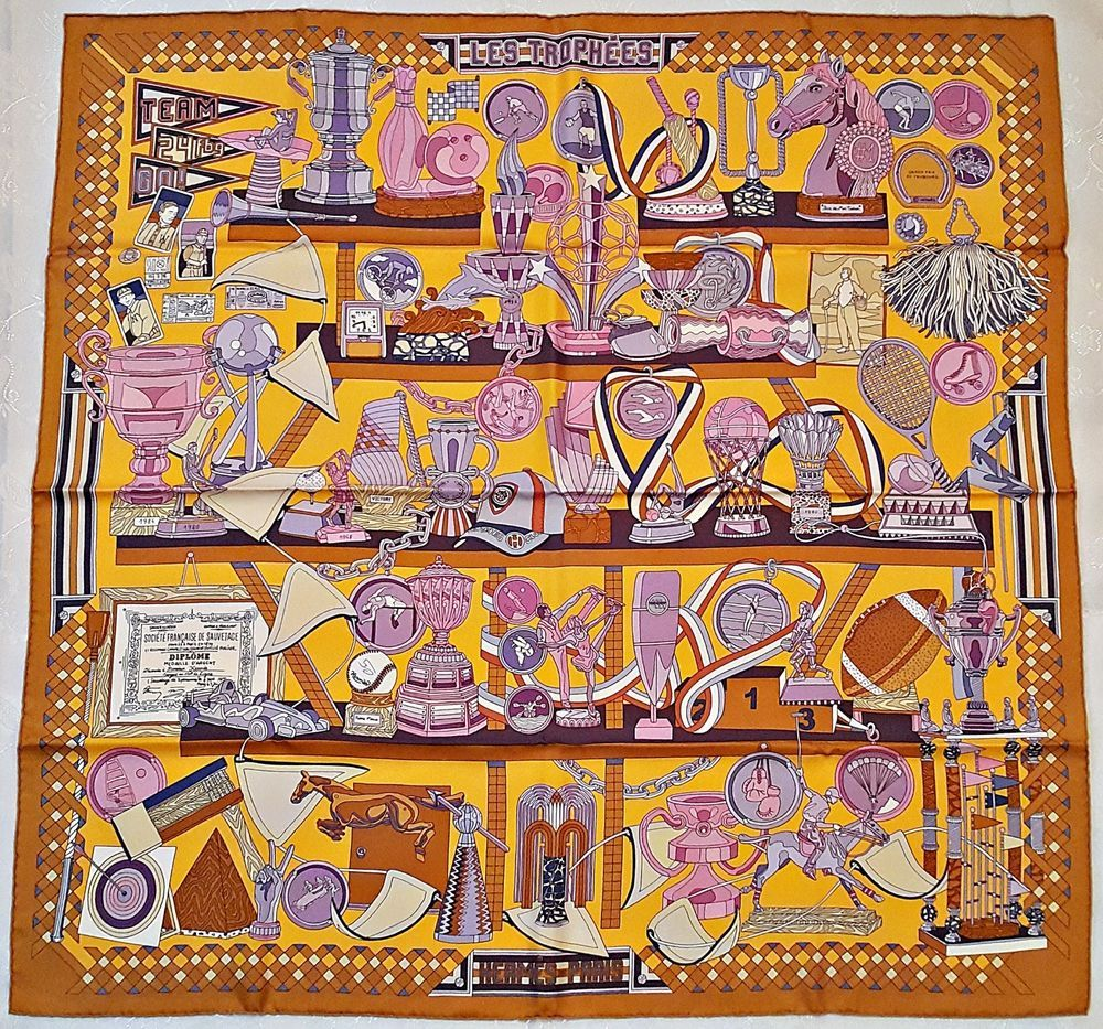 "AUTHENTIC HERMES PARIS LES TROPHEES PIERRE MARIE 2013 SILK 35"" SCARF WITH BOX #Hermes #Scarf"