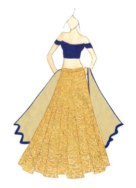 Off Shoulder Navy Blue Plain Blouse With Brocade Umbrella Lehenga Fashion Illustration Sketches Dresses Fashion Illustration Dresses Fashion Drawing Dresses