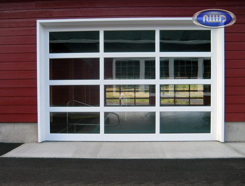 Superb Modern Classic MC43 White PC Finish   Clear Glass   Garage Door