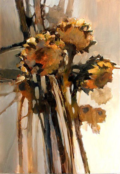 Dried Sunflowers Morten E Solberg Sr Acrylic Painting