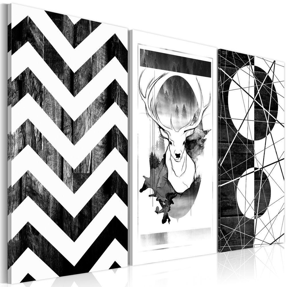 dekoration wohnzimmer schwarz weiß wandbilder xxl wohnzimmer leinwand bilder hirsch schwarz