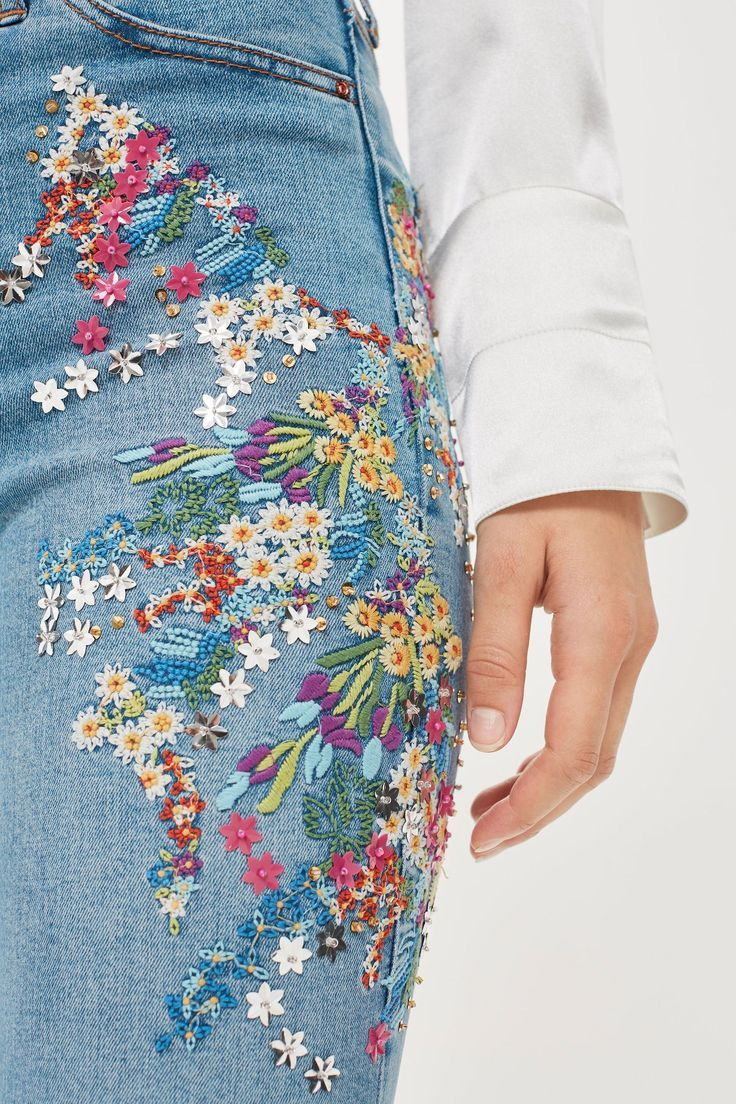 Mid Blue Embroidered Jamie Jeans
