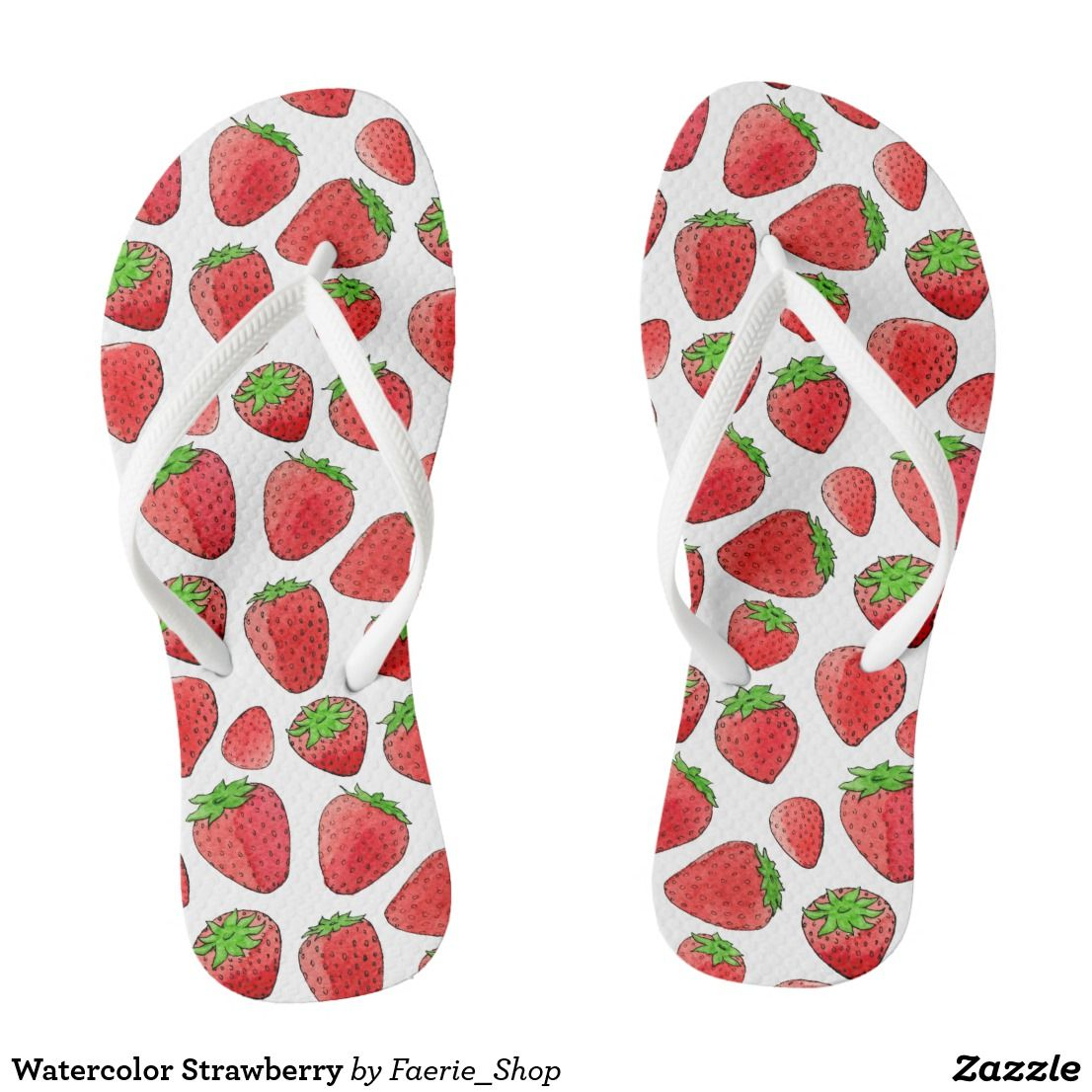 6ea6cb2d972ce4 Watercolor Strawberry Flip Flops  faerieshop  watercolour  strawberry   sketch  pattern  red  ink  berry  summer  beautiful  zazzle