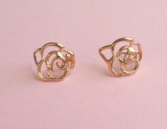 rose gold flower earrings but make your own out of wire and