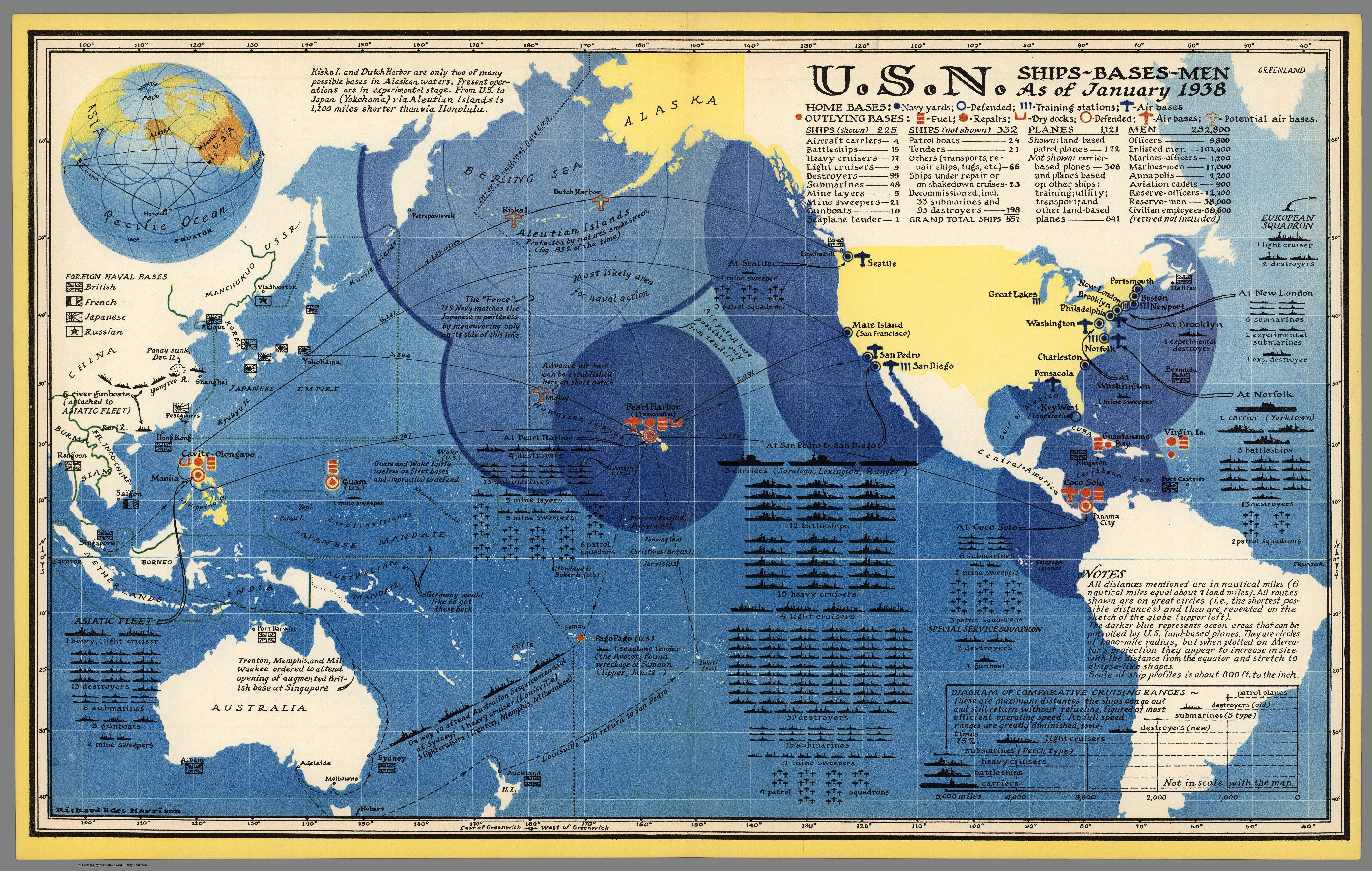 US Navy - Ships, bases and men as of January 1938 #map #navy ...