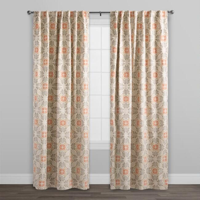 Orange Tile Cotton Concealed Tab Top Curtains Set Of 2 V2