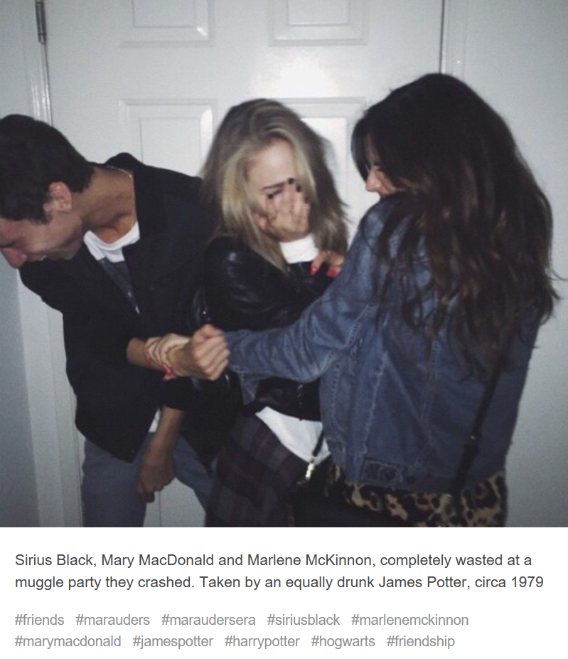 Sirius Black Mary Macdonald And Marlene Mckinnon Enjoying Themselves At A Muggle Party The Harry Potter Marauders Harry Potter Imagines Harry Potter Universal