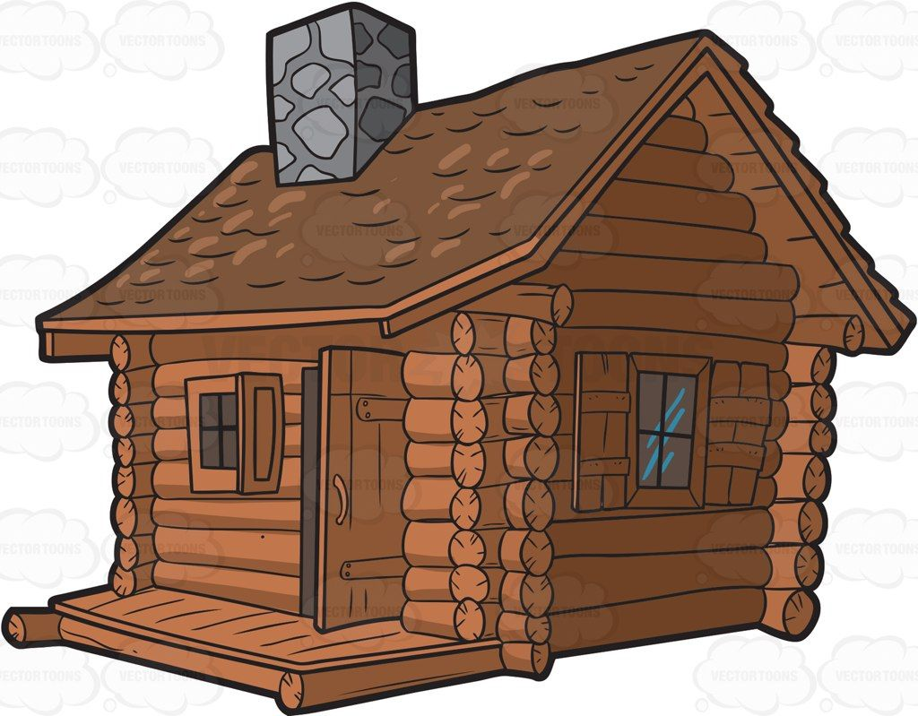 A House Made Out Of Logs With Two Windows And A Door Gray Stone Chimney On The Roof Cabin Art Log Cabin Cabin