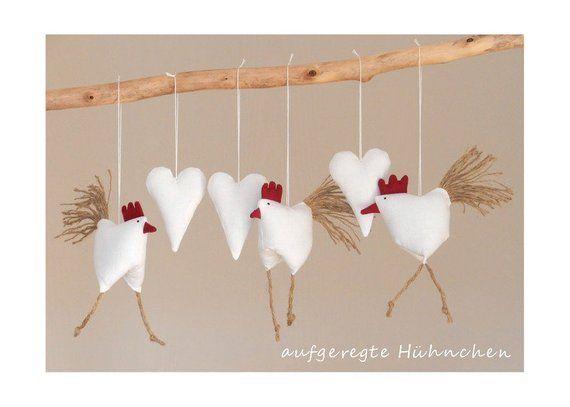 decoration 3 chicken 3 hearts chickens chicken heart white country house easter deko spring