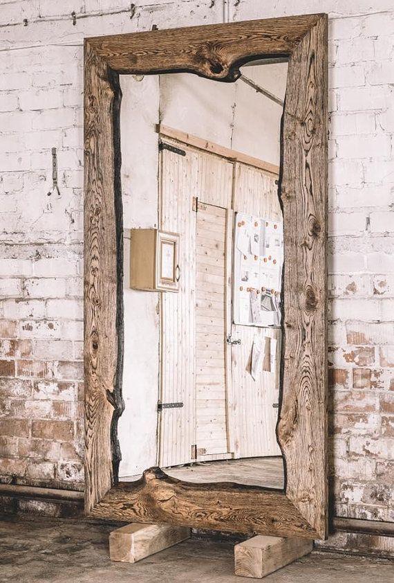 Photo of Industrial oak mirror / Wooden mirror / Rustic mirror / Home decor / Rustic furniture / Industrial furniture / Big oak mirror
