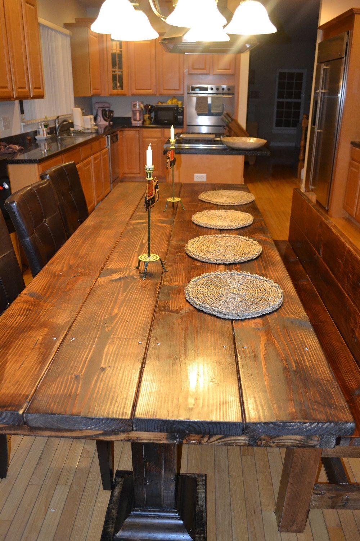 Handmade Rustic Wood Dining Table Set 800 00 Via Etsy Wood