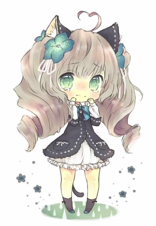 Anime Characters Catgirl : Chibi anime cat cute girl with ears animu