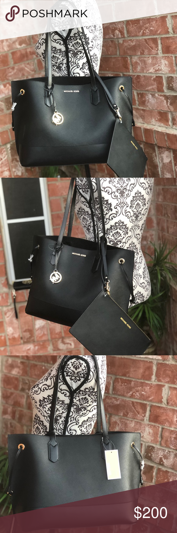 195870c763e008 Michael kors trista drawstring tote bag+wristlet Michael Kors Trista Large  Drawstring Leather Tote Handbag