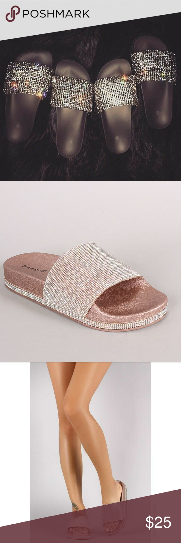 74f50c66e77cbc Rose Gold Swarovski rhinestones Open Toe Sandal This fabulous slide sandal  features an open toe silhouette