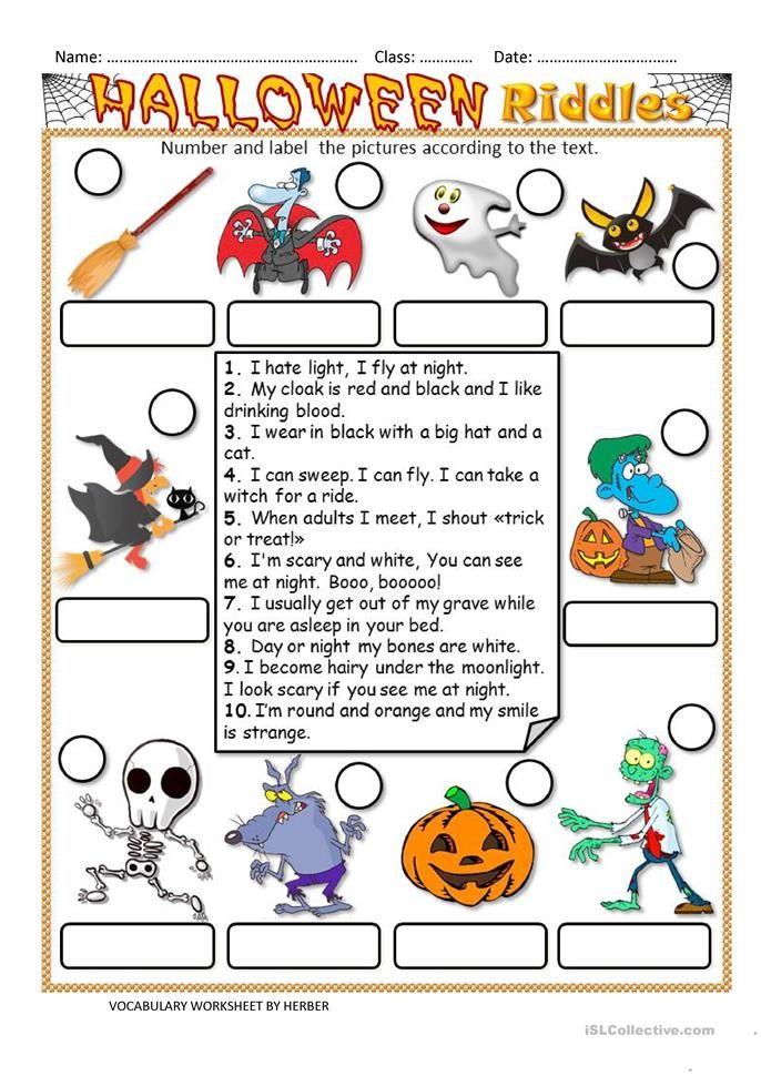HALLOWEEN RIDDLES WS Halloween riddles, Halloween lesson