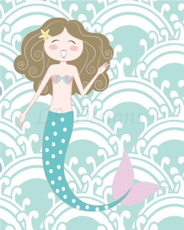 Purple and Aqua Mermaid Nursery Print, Mermaid Bedroom Decor, Seahorse Nursery Art, Girl Bedroom Decor, Baby Shower Gift 8x10 #mermaidbedroom