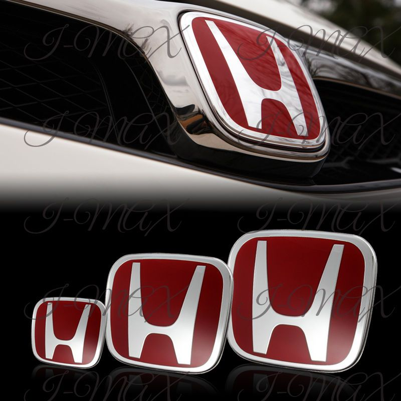 3PCS Front Rear Steering Wheel Red Emblem For 2012 2016 HONDA CIVIC COUPE 2DR IMax