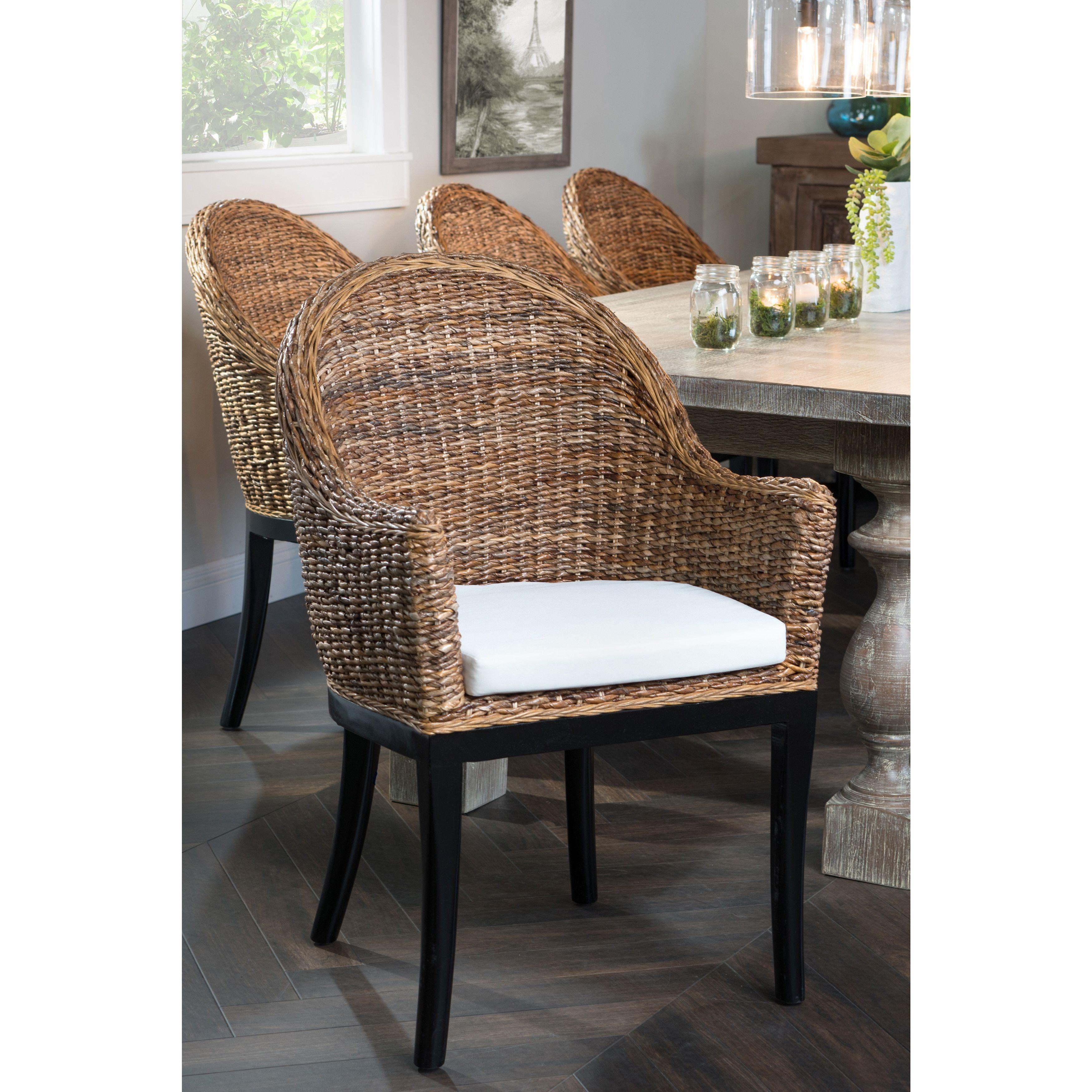 Owen Rattan Dining Chair By Kosas Home Natural Black Mahogany