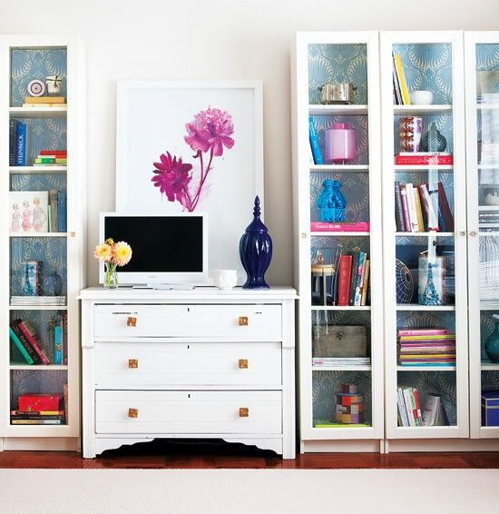 Ikea Bookcases Backed With Wallpaper - Smart