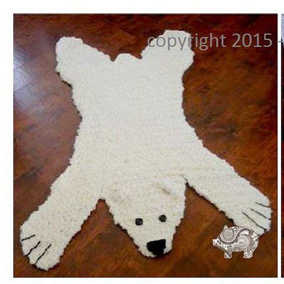 Polar Bear Skein Rug With Stuffed Or Flat Head By