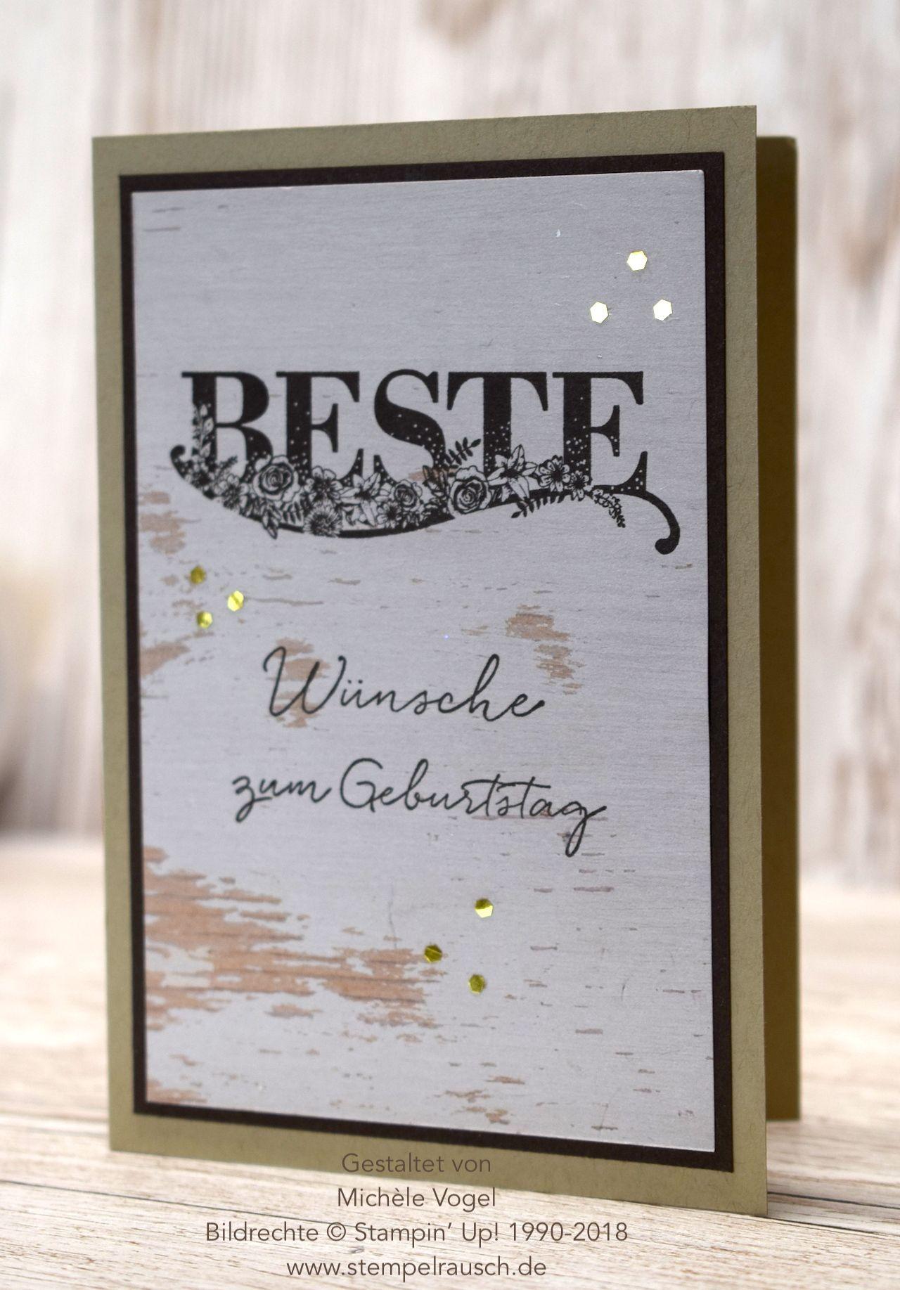 Geburtstagskarte Fur Den Mann Mit Dem Stempelset Beste Wunsche