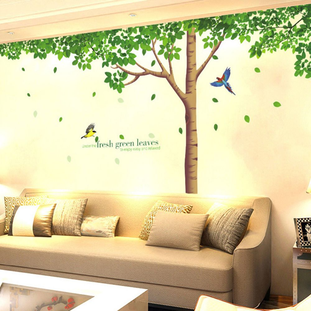 Big tree Birds Wall Stickers Decor Waterproof Living Room Background ...