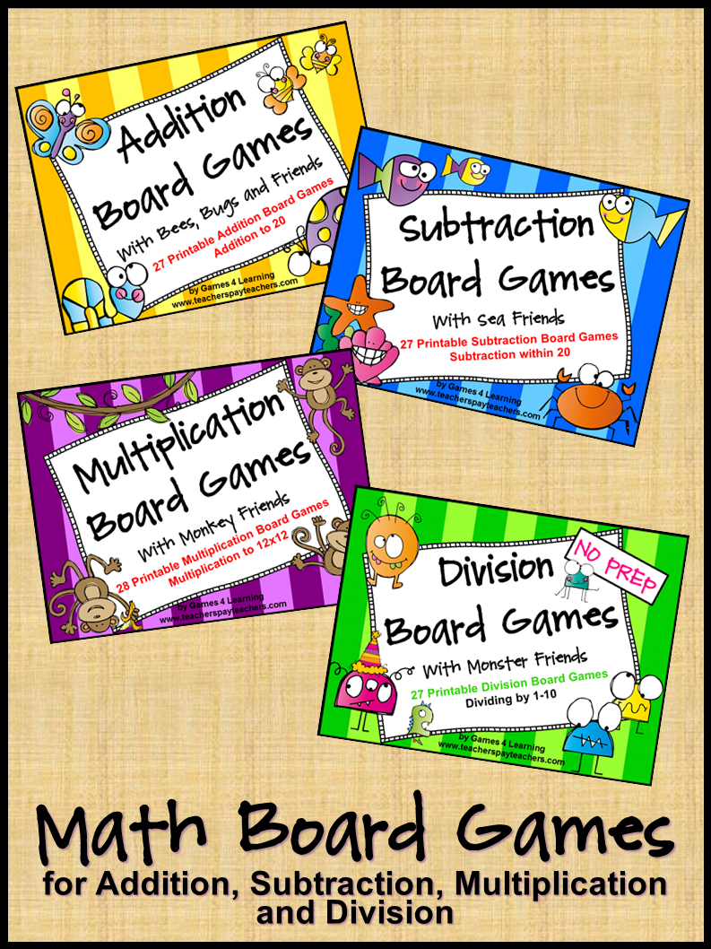 Fun, printable Math Board Games for Addition, Subtraction ...