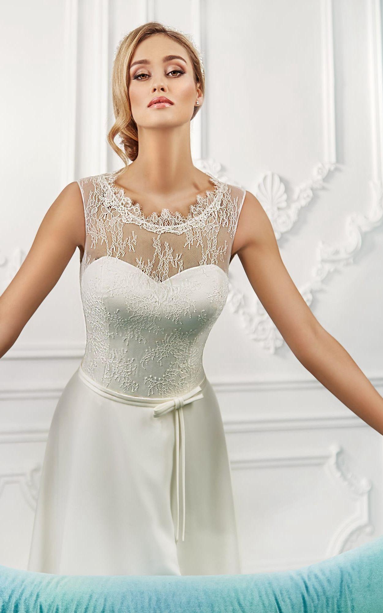 High neck sleeveless aline satin chiffon wedding dress with lace