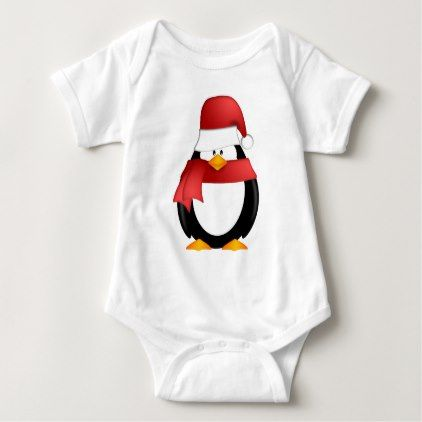 ebfbc39a6bc1c Penguin with Santa Hat and Red Scarf Clipart Baby Bodysuit - christmas day  xmas merry holidays family gift idea