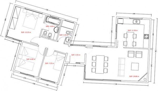 Casa De 3 Dormitorios Y 90 Metros Cuadrados Planos De Casas Casa De 3 Dormitorios Planos De Casas Planos