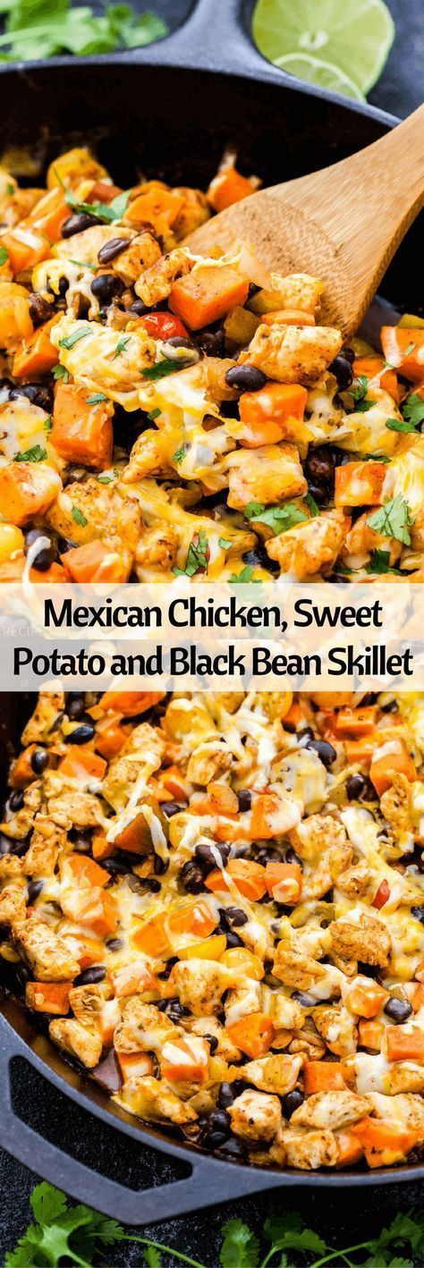MEXICAN CHICKEN, SWEET POTATO AND BLACK BEAN SKILLET images