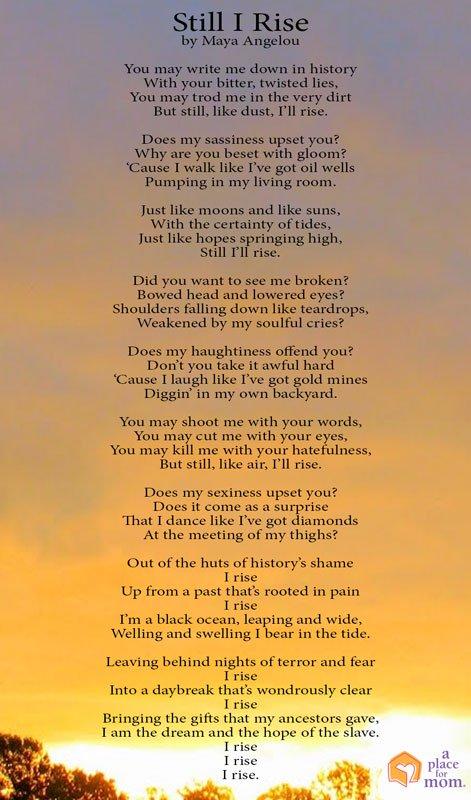 Poem of the Week:  Maya Angelo Still I Rise