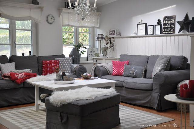 Wohnzimmer in rot-grau-weiß Wohnung Pinterest Living rooms and