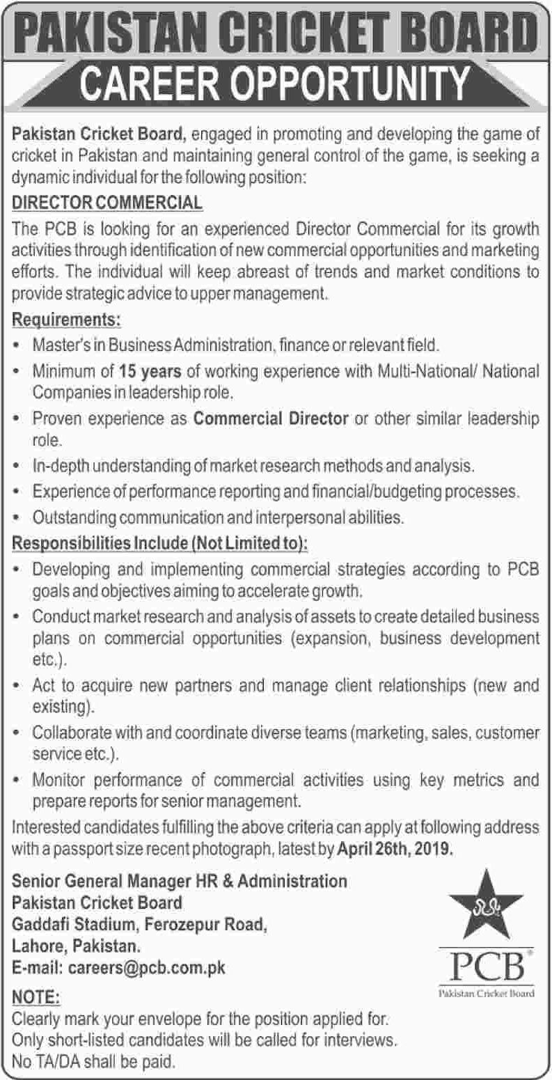 Govt Jobs In Pakistan Cricket Board PCB - JobsPoint Pk
