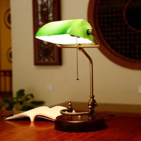 Vintage Banker Table Lamp Green Glass Cover Birch Wood Base Desk Lamp House Insides In 2020 Bankers Desk Lamp Desk Lamp Bankers Lamp