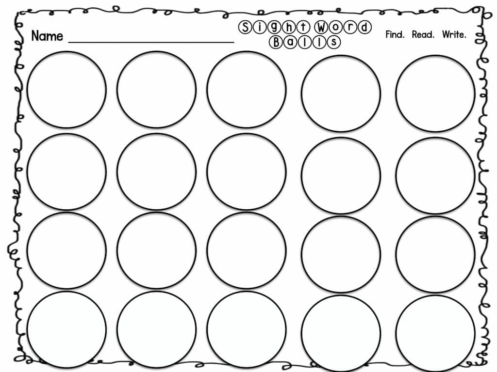Sight Word Practice Sight Word Ball Pit