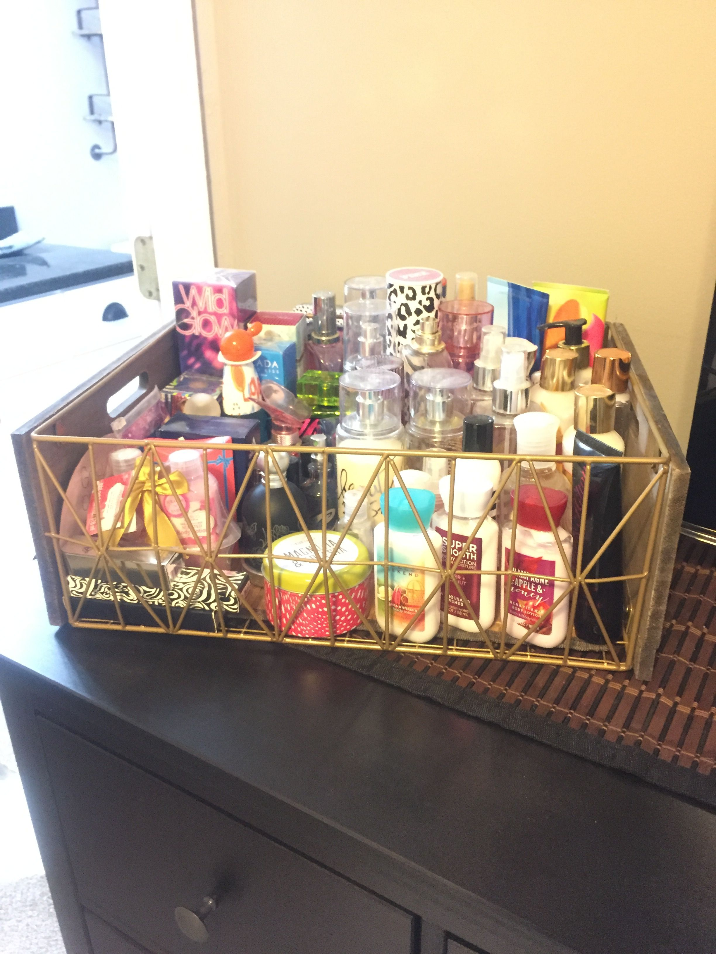 Easy Way To Organize Perfumes And Lotions Storage Organizingperfumes Perfume Organization Lotion Storage Perfume Storage