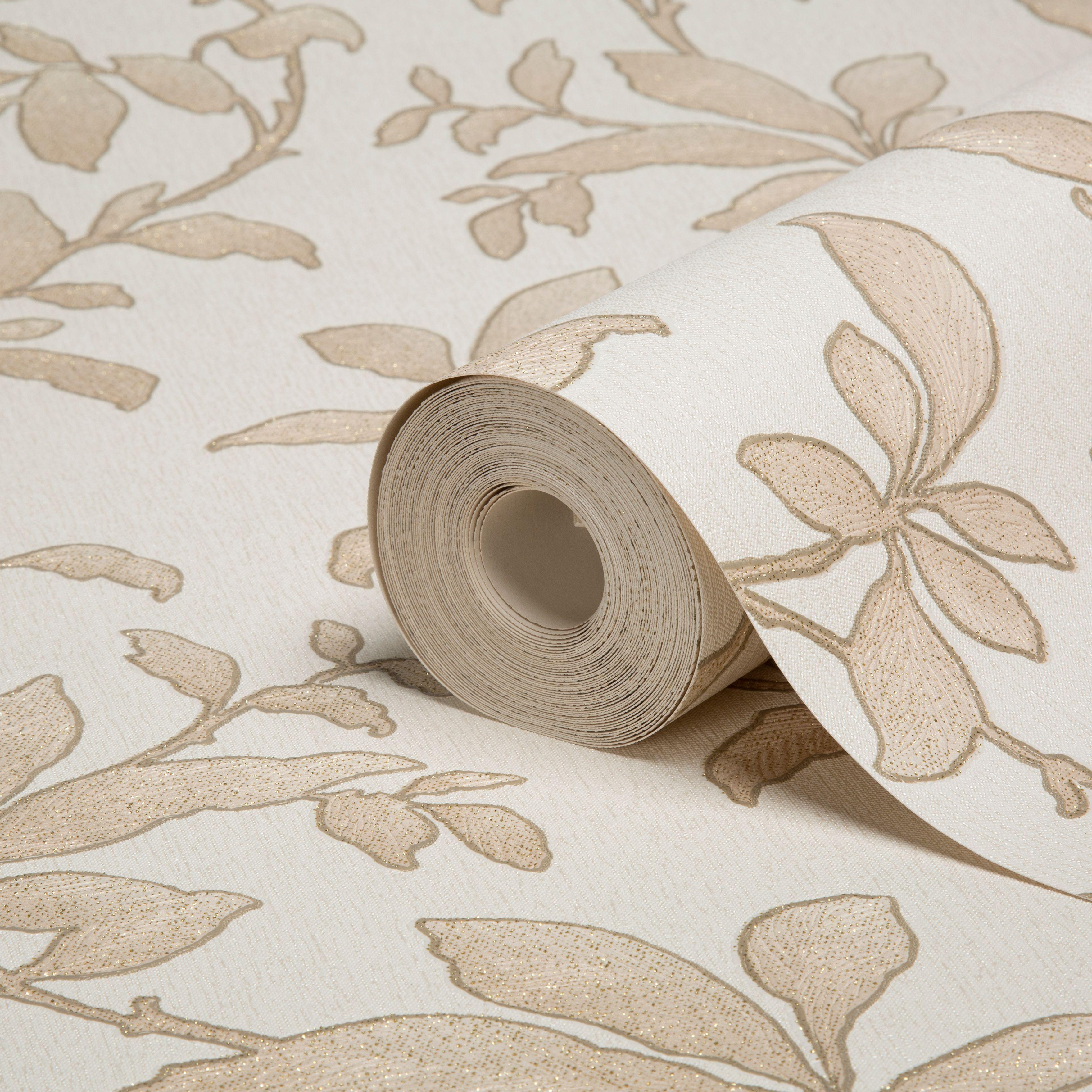 Sarra Leaves Gold Effect Wallpaper Departments DIY at