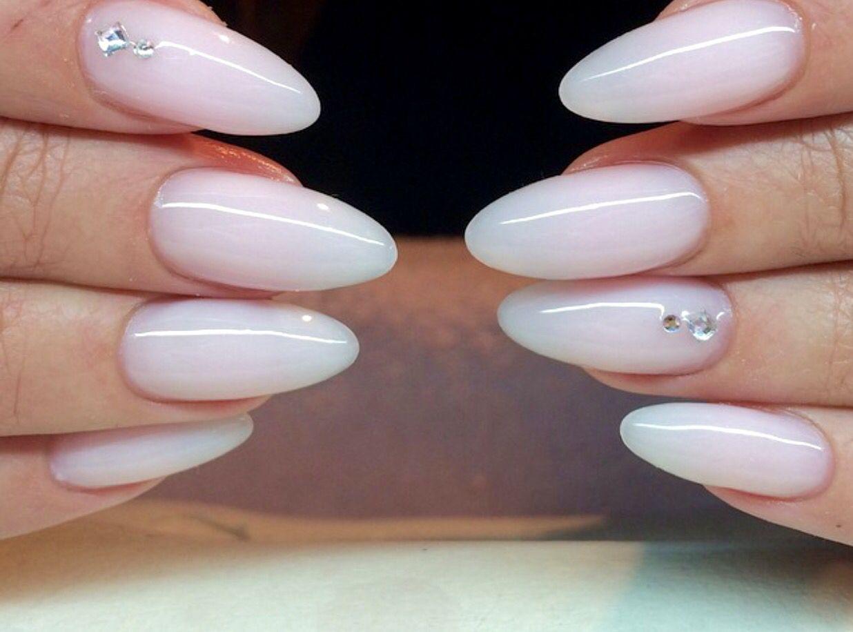 Milky White Almond Nails Almond Nails Designs Almond Acrylic Nails White Tip Acrylic Nails