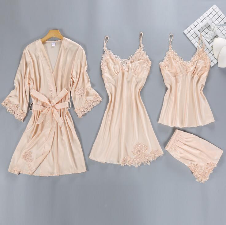 4 Pieces Pajamas Sets Satin Sleepwear Silk Nightwear In 2020 Pajama Set Women Pajamas Women Satin Sleepwear