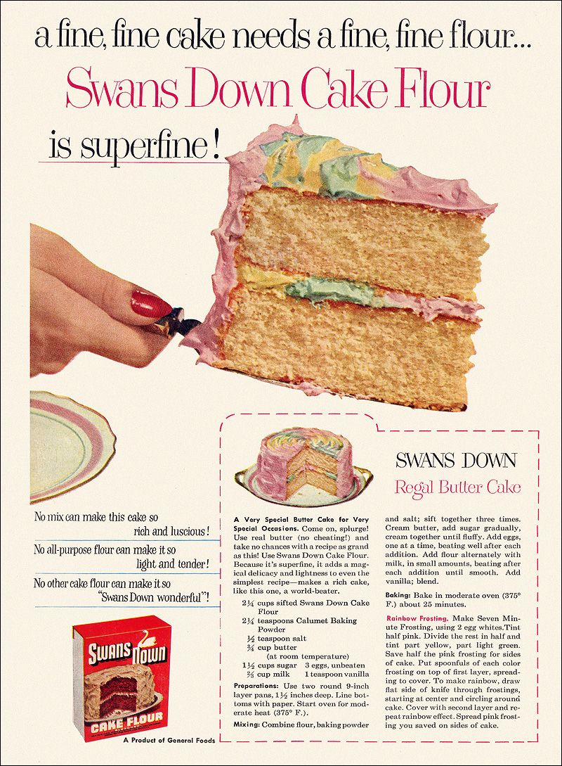 Swans Down Cake Flour Regal Butter Cake recipe 1953