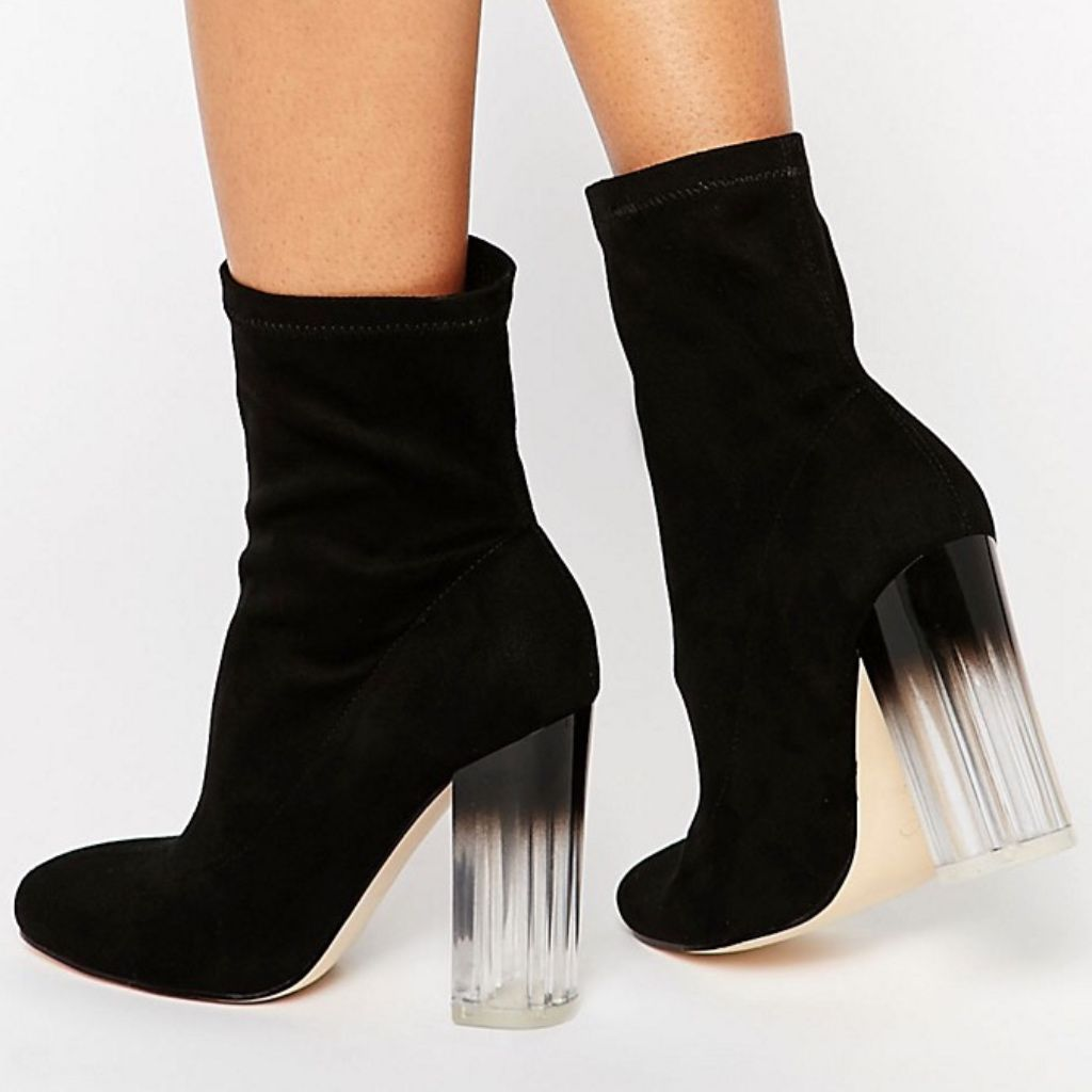 Clear heel boots, Boots, Heeled ankle boots