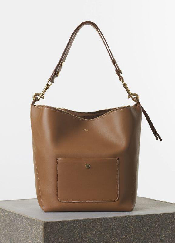 Medium Zipped Hobo Handbag In Tan Natural Calfskin